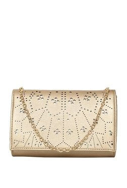 ToniQ Kyra Rose Gold Cut Work Flap Sling Bag