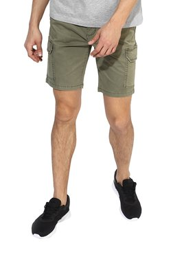 Red Tape Olive Slim Fit Mid Rise Shorts