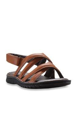 Franco Leone Dark Tan Cross Strap Sandals