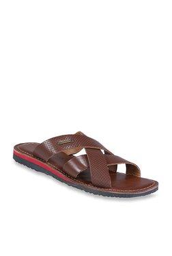 Woodland Dark Tan Cross Strap Sandals