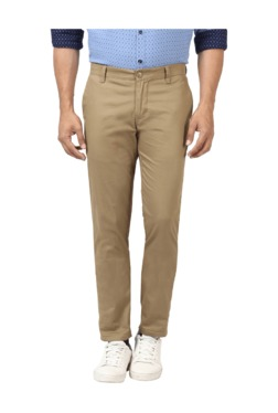 Parx Khaki Slim Fit Flat Front Trousers