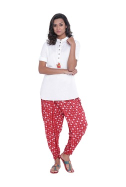 9rasa Off White & Red Viscose Kurti With Dhoti Pants
