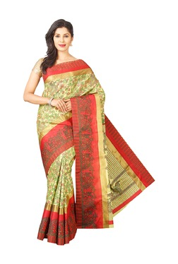 Pavecha's Green & Red Printed Bhagalpuri Saree