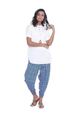 9rasa Off White & Blue Viscose Kurti With Dhoti Pants