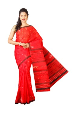 Pavecha's Red Printed Tant Saree