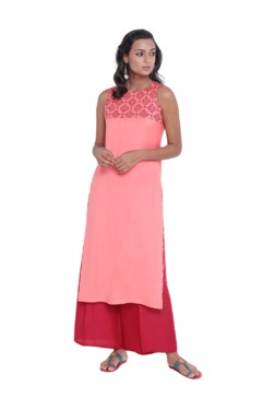 9rasa Pink Block Print Cotton Kurta With Palazzo