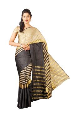 Pavecha's Black & Beige Silk Bollywood Saree