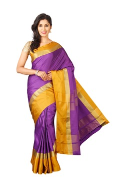 Pavecha's Purple & Gold Silk Bollywood Saree