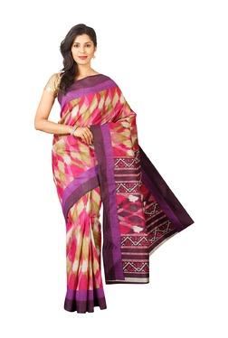Pavecha's Pink Printed Pochampally Saree
