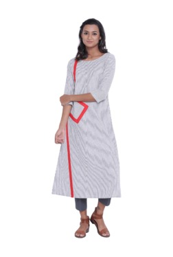 9rasa Grey & Grey Striped Cotton Kurta With Pants