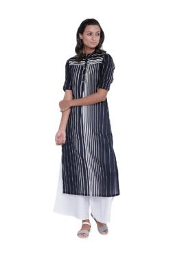 9rasa Navy & White Striped Cotton Kurta With Palazzo