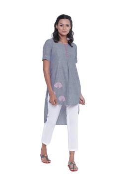 9rasa Navy & White Printed Cotton Kurti With Pants
