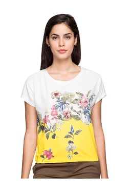 Cottonworld Off White & Yellow Floral Print T-Shirt