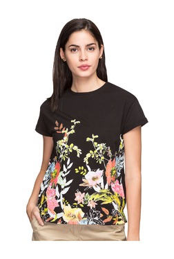 Cottonworld Black Floral Print T-Shirt