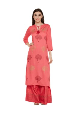 9rasa Coral Block Print Cotton Kurta With Palazzo