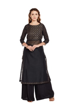 9rasa Black Block Print Faux Chanderi Kurta