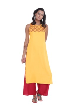 9rasa Yellow Block Print Cotton Viscose Kurta