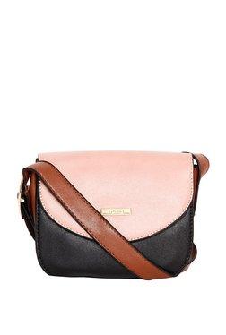 ToniQ Light Pink & Black Color Block Flap Sling Bag