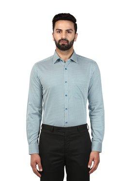 Raymond Green & White Printed Cotton Shirt