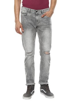 Celio* Grey Straight Fit Distressed Jeans
