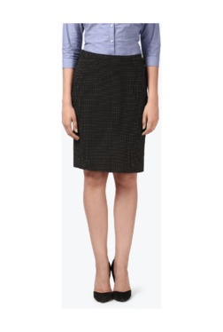Park Avenue Black Printed Knee Length Skirt