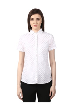 Park Avenue Red & White Regular Fit Printed Shirt