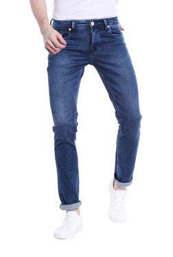 Integriti Dark Blue Solid Mid Rise Slim Fit Cotton Jeans