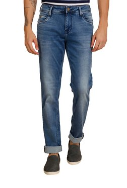 Integriti Blue Lightly Washed Mid Rise Cotton Jeans