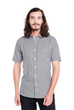Lawman Black & White Slim Fit Checks Shirt