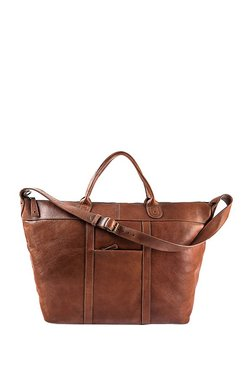 Hidesign Roberto Tan Solid Leather Travel Duffle Bag