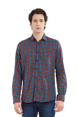 Lawman Black & Red Slim Fit Checks Shirt