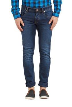 Lawman Dark Blue Solid Mid Rise Slim Fit Cotton Jeans