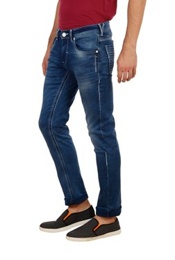 Lawman Dark Blue Lightly Washed Mid Rise Solid Jeans