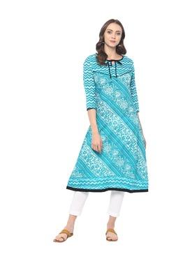Mytri Sea Green Printed Cambric Kurta