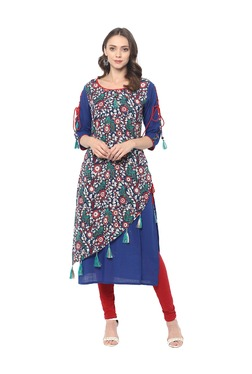 Mytri Blue Floral Print Cambric Kurta