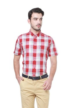 Allen Solly Red Checks Half Sleeves Shirt