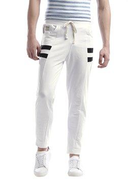 Hubberholme White Cotton Track Pants