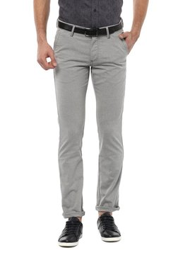 Allen Solly Grey Slim Fit Flat Front Trousers
