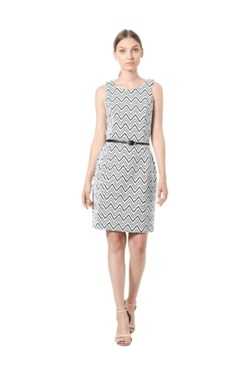 Solly By Allen Solly White Printed Dress