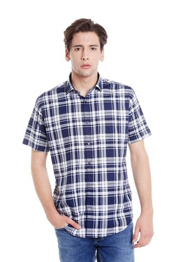 Easies Navy & White Half Sleeves Checks Shirt