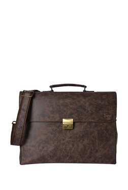 419b856342a0 Baggit Monk Clive Dark Brown Distressed Satchel Bag