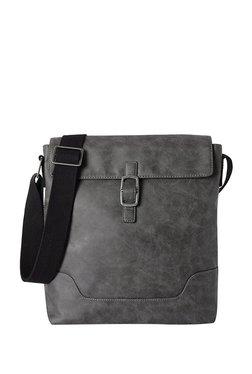 fe4a65bf18 Baggit Vector Clive Dark Grey Distressed Flap Sling Bag