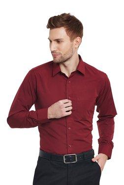 1fc28d8d392 Hancock Maroon Slim Fit Shirt