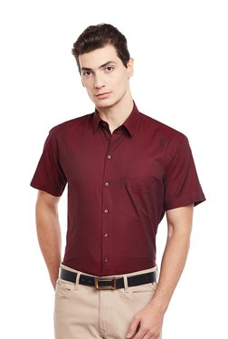 Hancock Maroon Solid Half Sleeves Shirt