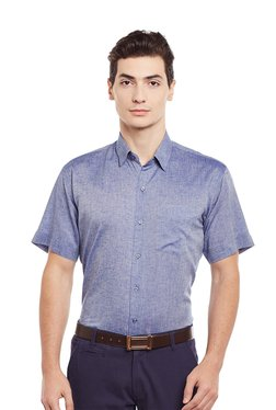 Hancock Blue Solid Half Sleeves Shirt