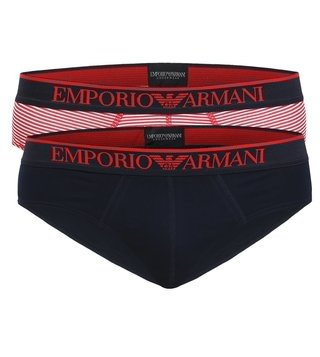 Emporio Armani Red & Navy Briefs (Pack Of 2)