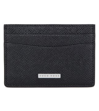 Boss Black Textured Card Holder 'Signature_S card'