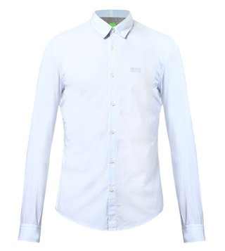 Hugo Boss Blue Regular Fit Shirt In Textured Cotton