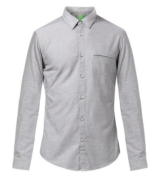 Hugo Boss Grey Cotton Shirt With Fine Dots