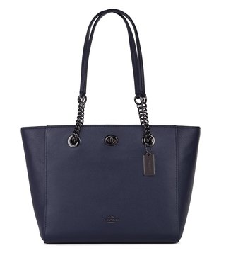Coach Navy Polished Pebble Turnlock Chain Tote Bag